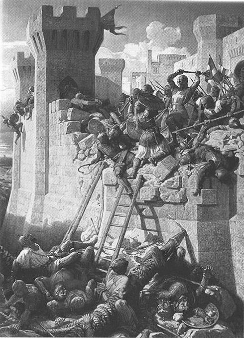 Darstellung der Belagerung von Akkon. Bild von Paperty, um das Jahr 1840