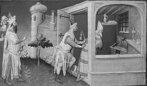 Die Inhaftierung des letzten Abbasiden-Kalifen al-Mutasim in einer Darstellung aus dem 15. Jahrhundert