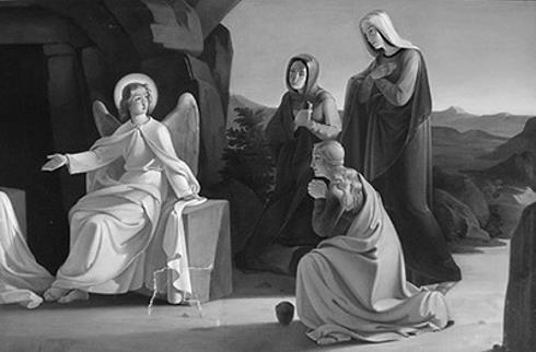 Gemälde Ludwig Ferdinand Schnorr von Carolsfeld: Die drei Marien am Grab Jesu, um 1835. Öl auf Leinwand.