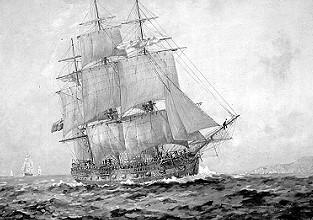 Eines der Schiffe der First Fleet. Gemälde von John Allcot