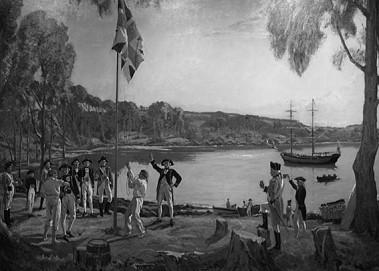 Die Landung der Schiffe der First Fleet in Australien