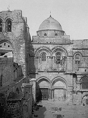 Die Grabeskirche in Jerusalem auf einem Photo aus dem Jahr 1905