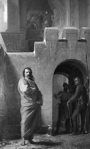 Heinrich IV vor der päpstlichen Burg Canossa. Bild von Eduard Schwoiser