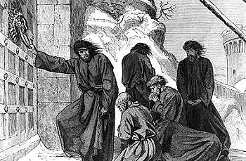 Heinrich IV klopft im Investiturstreit an das Tor der Festung in Canossa. Stahlstich von August von Heyden