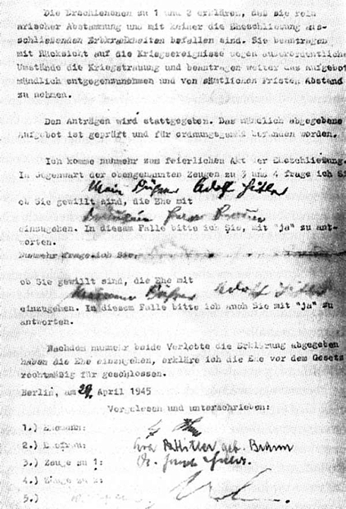 Heiratsurkunde Adolf Hitler Eva Braun 29. April 1945
