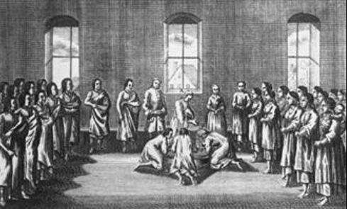 Taufe von Indianern durch Mährische Brüder