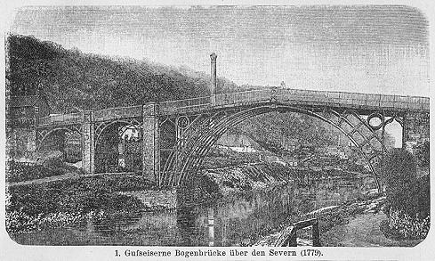 Darstellung der Gusseisenbrücke über den Severn bei Ironbridge (um das Jahr 1900)