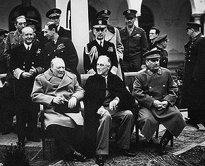 Churchill, Roosevelt, Stalin bei der Konferenz von Jalta