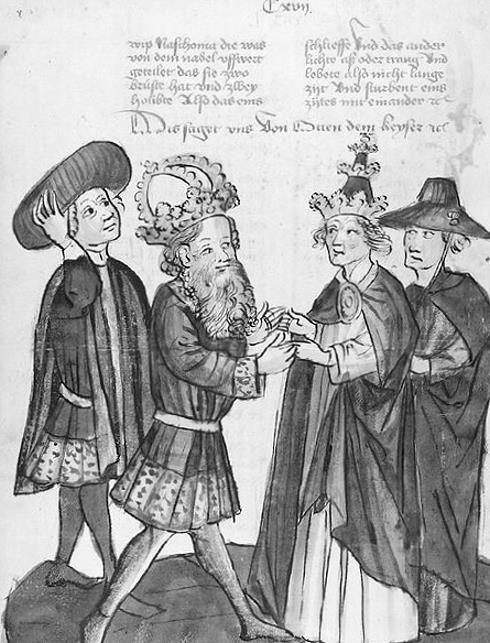 Darstellung eines Treffens zwischen Papst Johannes XII und Kaiser Otto I.