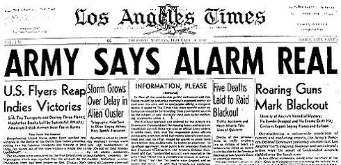 Überschrift der LA Times zu Alarm - vom Militär bestätigt