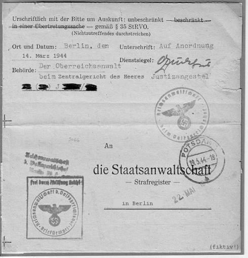 Gerichtsdokument des Zentralgericht des Heeres - fikitv, kein Originaldokument