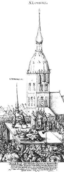 Historische Darstellung der Hinrichtung der Täufer