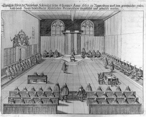 Der Immerwährende Reichstag in Regensburg - Darstellung in einem Kupferstich