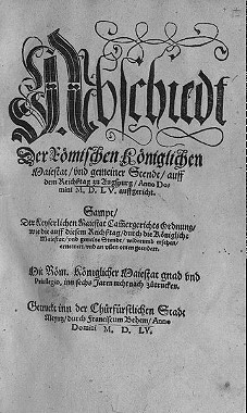 Titelblatt des Drucks des Augsburger Reichs- und Religionsfriedens