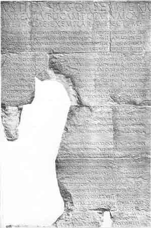 Ausschnitt aus der Res Gestae des Augustus