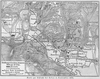 Aufmarschkarte der Schlacht von Sedan im Deutsch-Französischen Krieg