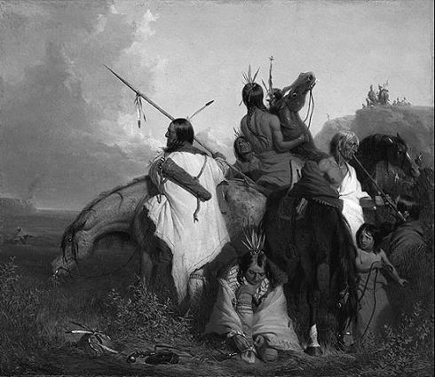 Ein Gruppe Sioux-Indianer in einem Gemälde von Charles Deas
