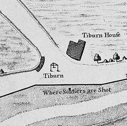 Karte des Galgen in Tyburn
