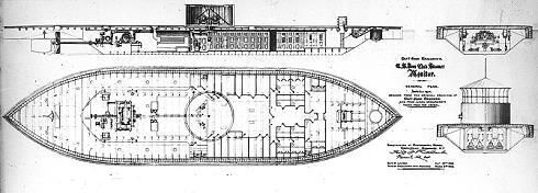 Konstruktionszeichnung der USS Monitor
