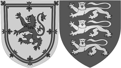 Die Wappen Englands und Schottlands