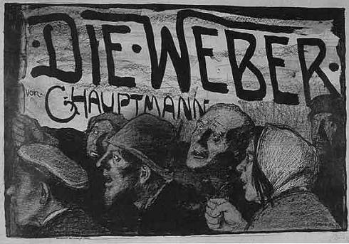 Ein Plakat zu Hauptmanns Drama 'Die Weber' von Emil Orlik